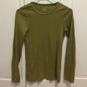 J. Crew Perfect Fit Long Sleeve T in Olive Green